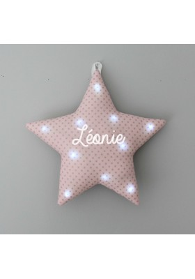 veilleuse étoile rose clair étoiles argents