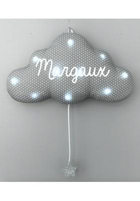 veilleuse musicale nuage grise étoiles blanches