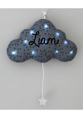 veilleuse musicale nuage gris bleuté étoiles noires