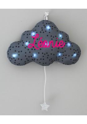 veilleuse nuage grise bleuté étoiles noires