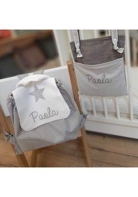 Sac à dos enfant et bébé gris étoiles blanches