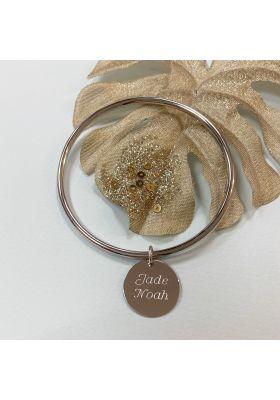 Bracelet jonc médaille argent personnalisé