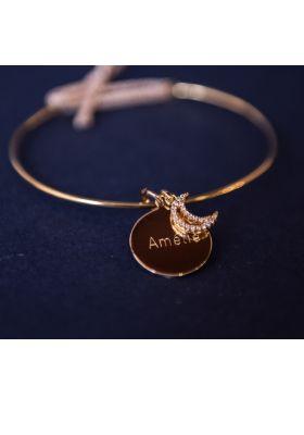 Bracelet personnalisé jonc plaqué or et cordon pailleté médaille gravée 13 mm charm lune en zirconium et plaqué or