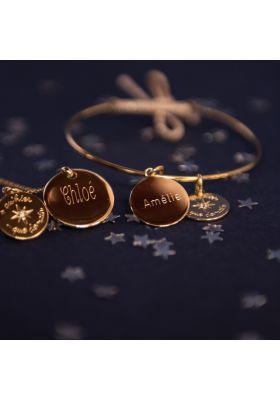 Bracelet personnalisé jonc plaqué or je t'aime plus qu'hier et moins que demain.
