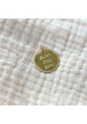 Pendentif dentelle plaqué or 20 mm