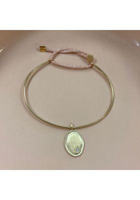 Bracelet Jonc Lune & Etoile Plaqué Or